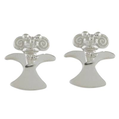 Handcrafted Sterling Silver Eagle Button Earrings