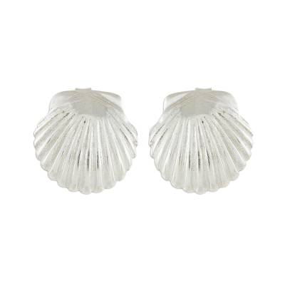 Handcrafted Sterling Silver Scallop Shell Button Earrings