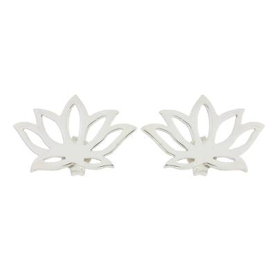 Handcrafted Sterling Silver Lotus Blossom Button Earrings