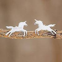 Sterling silver button earrings, 'Playful Unicorn' - Handcrafted Sterling Silver Playful Unicorn Button Earrings