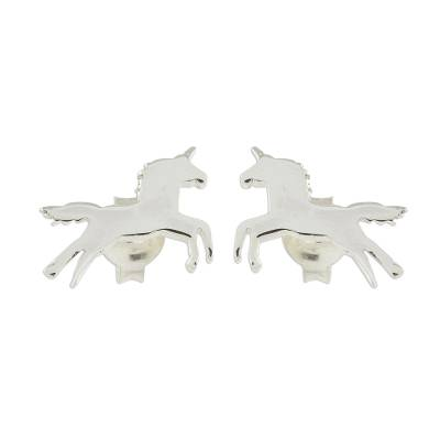 Handcrafted Sterling Silver Playful Unicorn Button Earrings