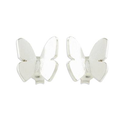 Handcrafted Sterling Silver Butterfly Button Earrings