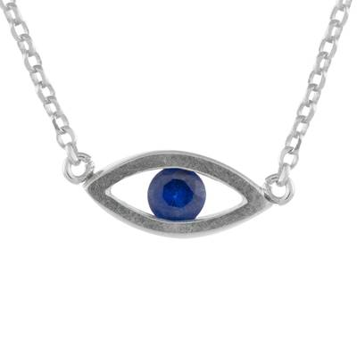 Handcrafted Sterling Silver Blue Eye Pendant Necklace