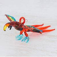 Blown glass figurine, 'Red Macaw' - Handcrafted Red Macaw Blown Glass Figurine