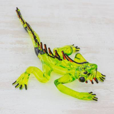 Blown glass figurine, 'Iguana's Stare in Green' - Handcrafted Green Iguana with Red Spines Glass Figurine
