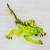 Blown glass figurine, 'Iguana's Stare in Green' - Handcrafted Green Iguana with Red Spines Glass Figurine thumbail