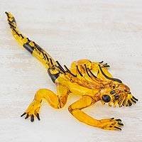 Art glass figurine, 'Iguana's Stare in Yellow' - Handcrafted Black Spined Yellow Iguana Art Glass Figurine