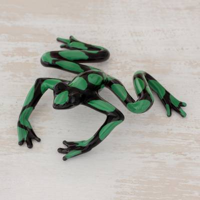 Art glass figurine, 'Poison Arrow Frog' - Handcrafted Green and Black Dart Frog Art Glass Figurine