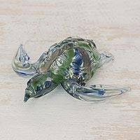 Art glass figurine, 'Marine Turtle in Green' - Handcrafted Green and Blue Sea Turtle Art Glass Figurine