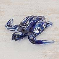 Art glass figurine, 'Marine Turtle in Blue' - Handcrafted Blue Sea Turtle Art Glass Figurine