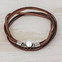 Men's leather wrap bracelet, 'Cosmopolitan in Brown' - Men's Brown Leather Smooth and Braided Band Wrap Bracelet