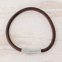 Men's leather wristband bracelet, 'Authenticity' - Handcrafted Men's Brown Leather Wristband Bracelet