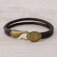 Men's leather wristband bracelet, 'Adventure' - Men's Black Braided Leather Snake Head Wristband Bracelet