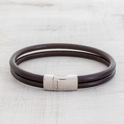 Mens leather wristband bracelet, Dapper in Brown