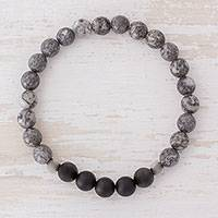 Men's marble and agate stretch bracelet, 'Stormy' - Men's Marble, Black Agate, Stainless Steel Stretch Bracelet
