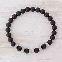 Men's agate stretch bracelet, 'Moonlit Sky' - Men's Black Agate and Stainless Steel Stretch Bracelet
