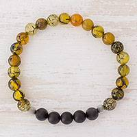 Men's agate stretch bracelet, 'Dragon Stone' - Men's Dragon Vein and Black Agate Bead Stretch Bracelet