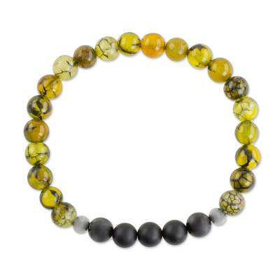 Unique Dyed Yellow Agate Stainless Steel Beaded Stretch Bracelet