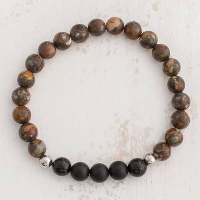 Mens jasper and agate beaded stretch bracelet, Universal Strength