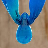 Art glass pendant necklace, 'Reflected Sky' - Blue Art Glass Teardrop Pendant Silk Scarf Necklace