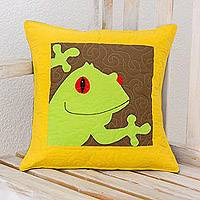 Cotton blend cushion cover, 'Happy Frog' - Cotton Blend Frog Cushion Cover from Costa Rica