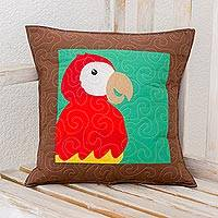 Cotton blend cushion cover, 'Red Macaw' - Cotton Blend Macaw Cushion Cover from Costa Rica