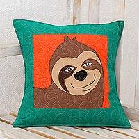 Cotton blend cushion cover, 'Happy Sloth' - Cotton Blend Sloth Cushion Cover from Costa Rica