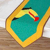 Quilted cotton blend table runner, 'Happy Toucan' - Cotton Blend Toucan Table Runner from Costa Rica