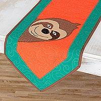 Quilted cotton blend table runner, 'Happy Sloth' - Cotton Blend Sloth Table Runner from Costa Rica