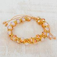 Glass beaded bracelet, 'Multi-Faceted Sparkle' - Clear Faceted Czech Glass Bead Bracelet from Costa Rica