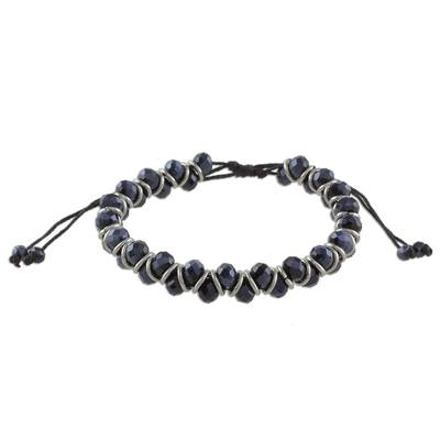 Czech Beads bracelet with a Karen Hill Tribe Faceted Hammered Tubular Bead and a round disc tag charm Black Zara Bracelet