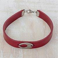 Faux leather wristband bracelet, 'Ellipse in Burgundy' - Stainless Steel Ellipsis Burgundy Wristband Bracelet