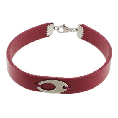 Stainless Steel Ellipsis Burgundy Wristband Bracelet