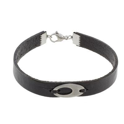 Stainless Steel Ellipsis Black Wristband Bracelet