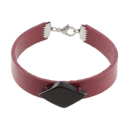 Burgundy Wristband Bracelet with Coconut Shell Pendant