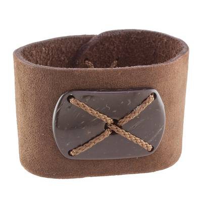 Brown Leather Coconut Shell Pendant Wristband Bracelet