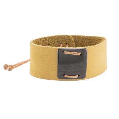 Mustard Leather Coconut Shell Pendant Wristband Bracelet