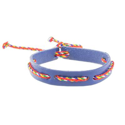 Blue Adjustable Wristband Bracelet with Colorful Cords