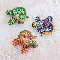 Ceramic figurines, 'Sweet Salamanders' (set of 3) - Colorful Handpainted Ceramic Salamander Figurines (Set of 3)