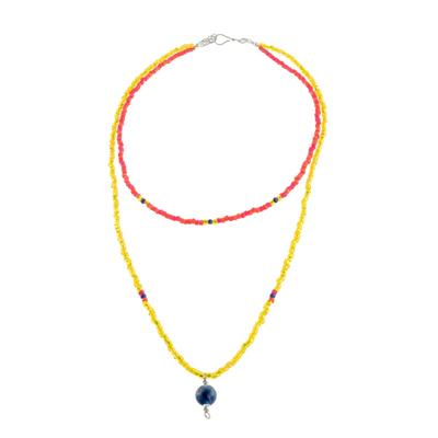 Lapis Lazuli and Glass Beaded Pendant Necklace