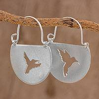 Sterling silver hoop earrings, 'Two Hummingbirds' - Sterling Silver Hummingbird Hoop Earrings from Costa Rica