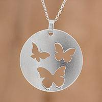 Sterling silver pendant necklace, 'Butterfly Flight' - Sterling Silver Butterfly Pendant Necklace from Costa Rica