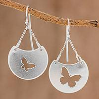 Sterling silver dangle earrings, 'Butterfly Flight' - Sterling Silver Butterfly Dangle Earrings from Costa Rica