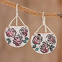 Sterling silver and copper dangle earrings, 'Vintage Flowers' - Sterling Silver and Copper Flower Earrings from Costa Rica