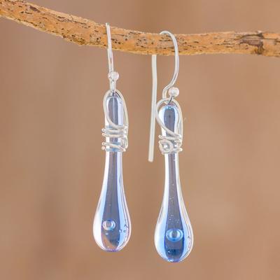 Novica Glass dangle earrings, Bubbling Petals