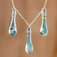 Glass pendant necklace, 'Crystalline Summer' - Handmade Glass Pendant Necklace from Costa Rica