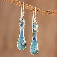 Glass dangle earrings, 'Crystalline Summer' - Handcrafted Glass Dangle Earrings from Costa Rica