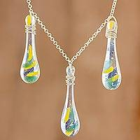 Glass pendant necklace, 'Bubbling Petals' - Colorful Glass Pendant Necklace from Costa Rica