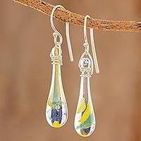 Glass dangle earrings, 'Bubbling Petals' - Colorful Glass Dangle Earrings from Costa Rica