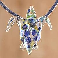 Glass pendant necklace, 'Beautiful Sea Turtle in Blue' - Glass Sea Turtle Pendant Necklace in Blue from Costa Rica